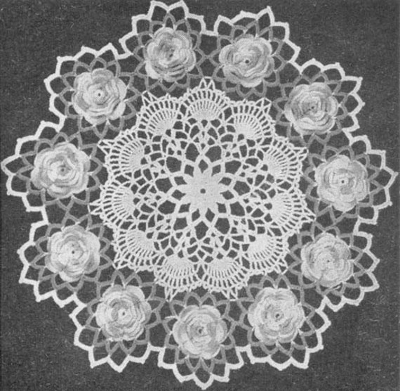 Antique Crochet Patterns : 1953 Rose Doily Vintage Crochet Pattern PDF 051 by annalaia