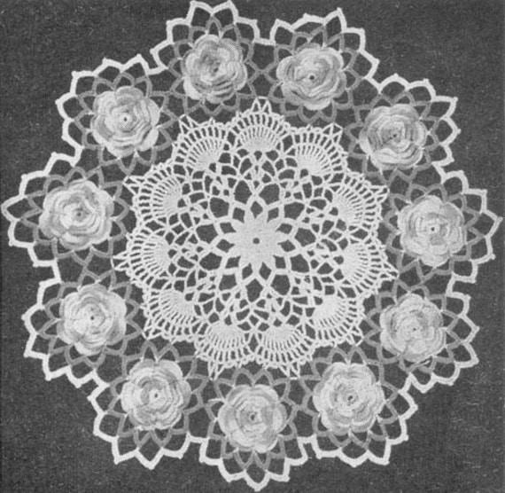 1953 Rose Doily Vintage Crochet Pattern PDF 051