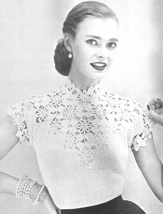 1955 Flower and Leaf Yoke Vintage Crochet Pattern PDF 132
