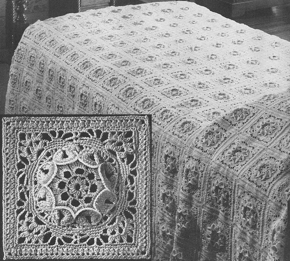 1949 Flower Queen Bedspread Vintage Crochet Pattern Instant Download PDF 374
