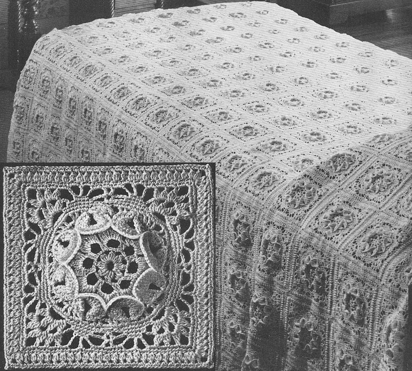 1949 Flower Queen Bedspread Vintage Crochet Pattern Instant by ...