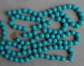 100 Vintage Japan Turquoise Blue Glass Beads