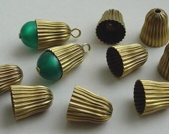 20 Corrugated Brass Beadcaps, Different