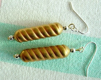 Mixed Metals Spiral Earrings