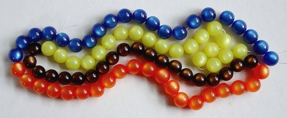 Yard Long Strand Of Lucite Moonglow Beads, 4 Colors