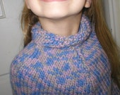 little girl's pink and blue handknit wool poncho size 2-3