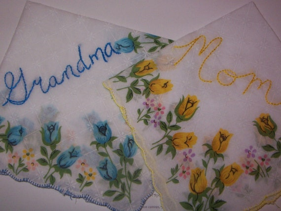 Hand Embroidered MOM OR GRANDMA Handkerchief -- Hankie with Embroidery For Your Bridal Party