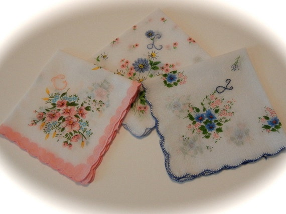 Hand Embroidered Handkerchiefs - Set of THREE Thin Script Initials -- Initial Letter Embroidery Handkerchief
