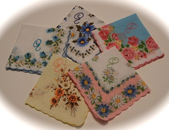 Bridesmaids Initial Handkerchiefs -- Set of Five Hand Embroidered Hankies -- Floral Vintage Style