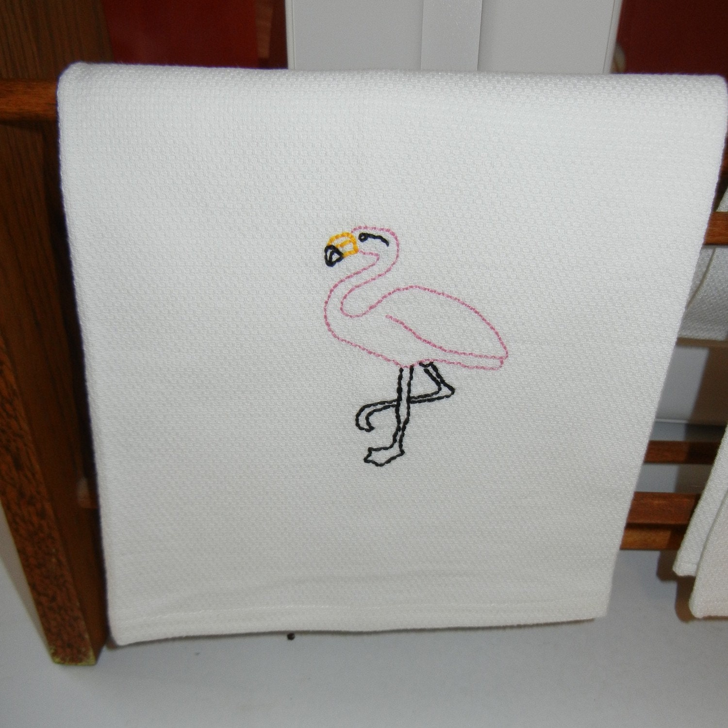 Embroidered Dish Towel White Huck Toweling With FLAMINGO Embroidery