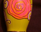 Chartreuse green Vase (hand-painted)