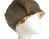 brown spotty hat with feature brim