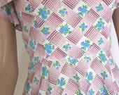 70 Pastel Dress Sundress - Vintage Blue Roses Floral Pastels - Foxy Summer Sun Dress - XXS to XS
