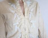 RESERVED 60s Vintage Cozy Cream Cardigan Sweater / Beaded Lambswool Angora / Snow White Beads / XS