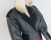 80s Black Leather Jacket - Avant Garde Vintage - Cropped Charcoal Suede - Nipped Waist - Small
