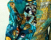 80s Italian Celestial Sun Moon & Stars Jacket - Peacock Teal Blue Vintage Baroque Pageantry Seapunk  -  Medieval Cropped  M