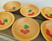 Cherries Salad Bowl Set 6 Vintage Munising Wooden Bowls - Cherry Painted Woodenware - Summer Picnic Bowls