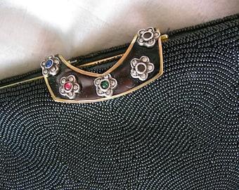 40s French Beaded Opera Purse - Black Jeweled Evening Bag - Flower Enamel Clasp - Vintage Handbag - France