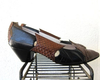 80s Maud Frizon Paris Avant Garde Shoes - French Vintage Two Tone - Snakeskin & Black Leather Heels 9