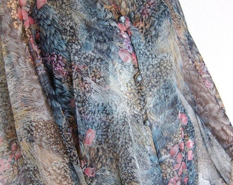70s Feather Print Chiffon Dress - Vintage 2 Piece Capelet Ensemble - Ethereal Gypsy Boho Stevie Nicks - M Bust 36