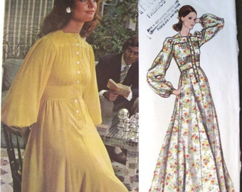 70s Jean Muir Vogue 2664 Dress - Vogue Couturier Design - Vintage Full Length Evening Dress Sewing Pattern - 10