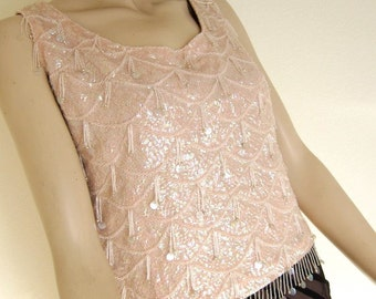 60s Does 20s Beaded Top - Mad Men Party 1960s Vintage - Iridescent Candy Pink Pastel - Shell Sweater - Sequins Fringe Beads - Bust 38