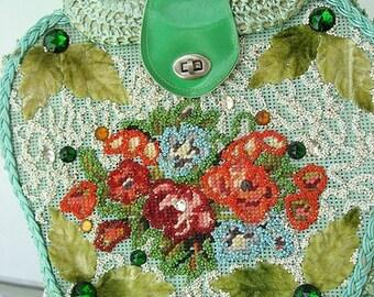 60s Seafoam Mint Wild Child Vintage Purse - Green Raffia Bag - 1960s Jeweled Tote Novelty Handbag
