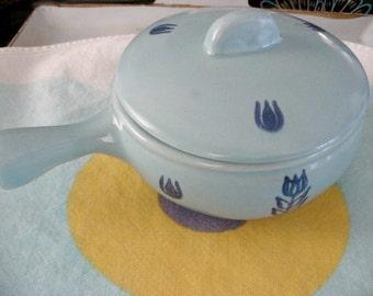 Cronin Blue Tulip Petite Pottery Casserole Dish - Mid Century 50s Vintage - Lidded Sauce Pot - Mid Century Kitchenware - MCM Grocery Premium