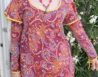 60s Hippie Gypsy Maxi Dress Cherry Floral - Vintage Psychedelic Paisley Boho Festival - Girl Fashion - Medium M