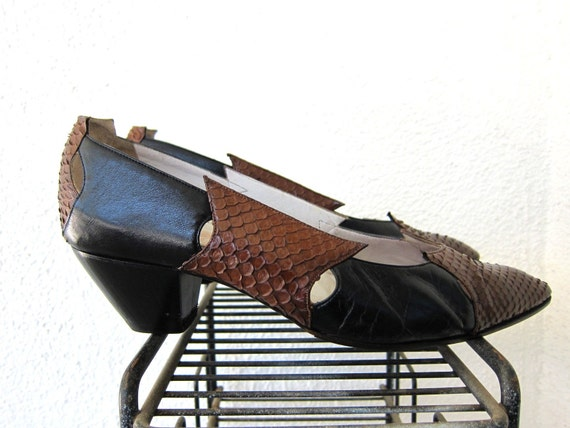 80s Maud Frizon Paris Avant Garde Shoes - French Vintage Two Tone - Snakeskin & Black Leather Heels 9