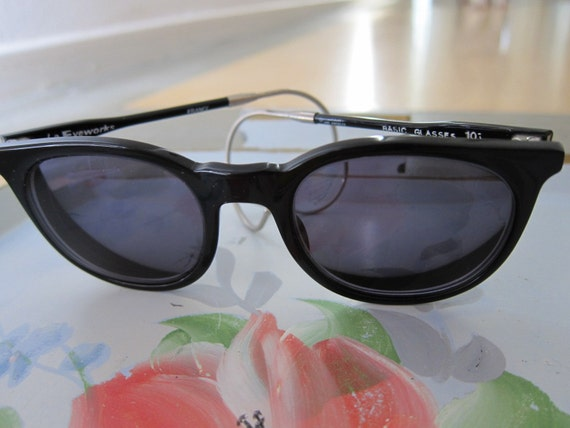 L.A. Eyeworks Black Glasses Vintage  80s Sunglasses - Frames Eyeglasses Authentic 1980s - France - NOS New Old Stock