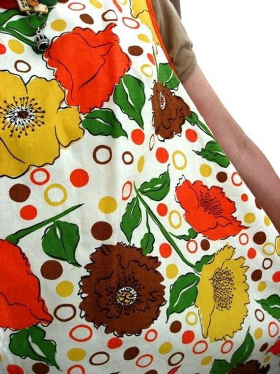 RESERVED - 70s Garden Smock Top Apron Vintage - Apron Tree of California - Tunic - Polka Dot Dots - Tangerine Orange Floral