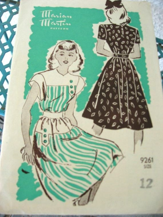40s Marian Martin 9261 - 1940s Teen Vintage Dress Sewing Pattern Teens - Cap Sleeve - Bust 30