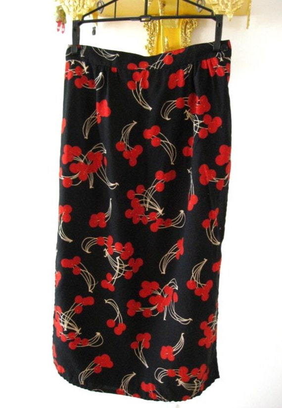 RESERVED 70s Black Cherry Pencil Skirt - Vintage Rockabilly Star Fashion - Red Cherries - Small W 26