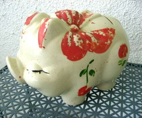 40s McCoy Vintage Piggy Bank - Pottery Pig - Collectible Painted Piggie Bank - Chippy Paint - Shabby Cottage Chic