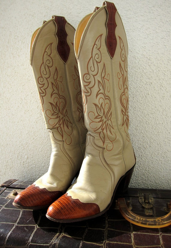 Justin Vintage 80s Cowgirl Boots - Tall Ladies Cowboy - Vanilla Cognac Leather - Two Tone - Exotic Lizard Cowboy Western 6 B
