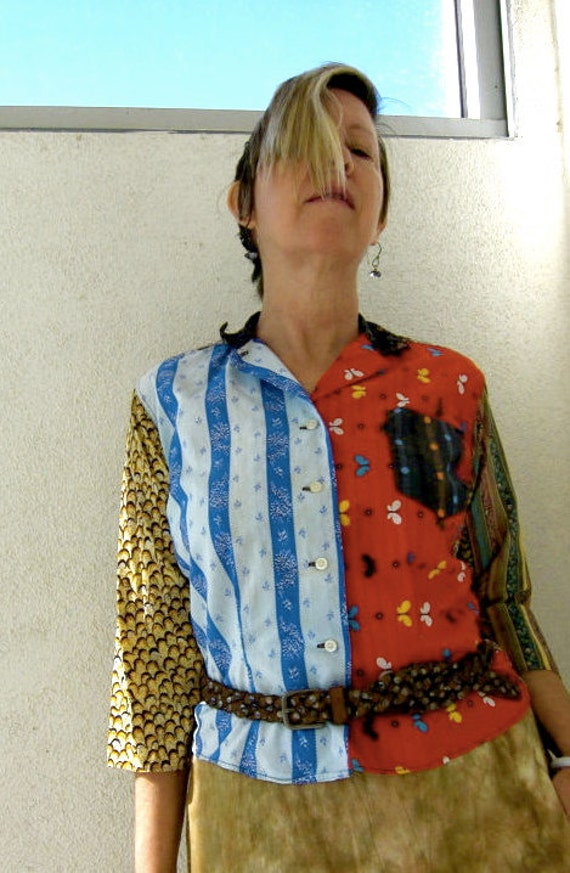 60s Butterfly Gypsy Shirt - Vintage Donnkenny - Mixed Prints - Boho Blouse - Sally Draper - 34