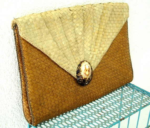 Woven Straw Envelope Clutch Purse - Palm Leaf - Natural Seashell - Jumbo Large - Vintage Bag - Two Tone Light & Cocoa Caramel