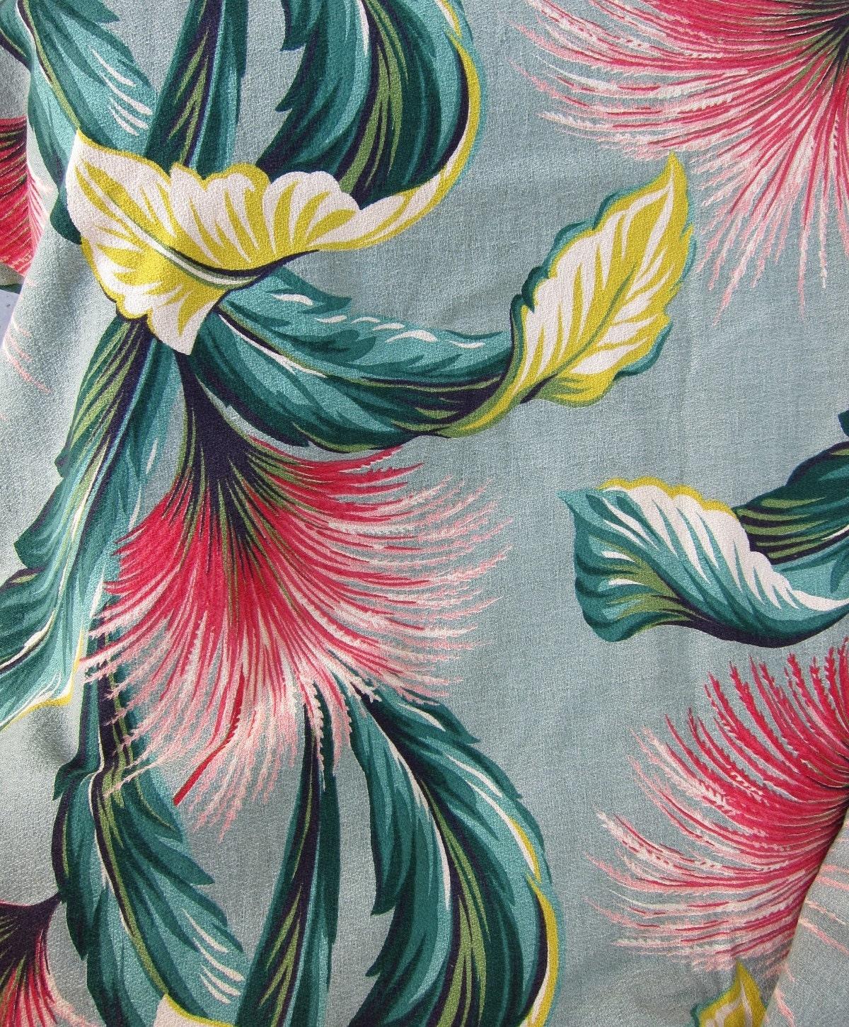 40s Barkcloth Zomba Tropical Fabric 81 X 87 Bark Cloth Huge