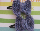 Purple bow clips - set of two