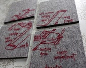 jet setter airplane diagram coasters - pick your color