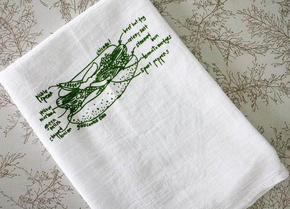 Chicago hot dog diagram tea towel, Chicago gift, white cotton floursack kitchen towel, towels