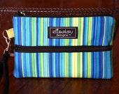 Large Padded Wristlet Mini Purse- Blue Luxe