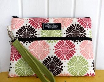 Padded Apple iPad Pouch Bag Wristlet- Flower Works