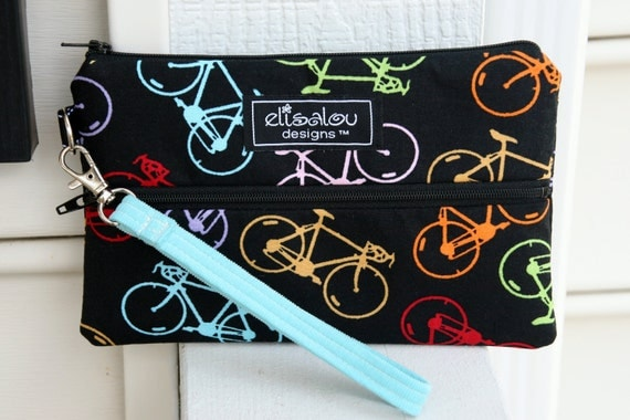 Padded Wristlet Mini Purse- iPhone- Camera-  iPod touch- Bag Case- Shaz Bicycle