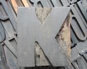 Antique Letterpress Wood Type Printers Block Letter K