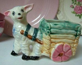 Vintage Lamb with a Cart Figure Planter