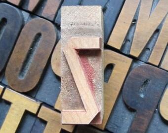 Antique Letterpress Wood Type Printers Block Letter Z
