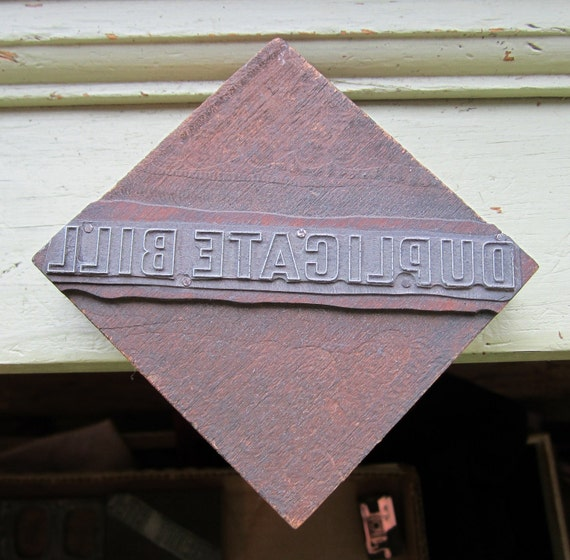 Vintage Letterpress Printers Block Duplicate Bill