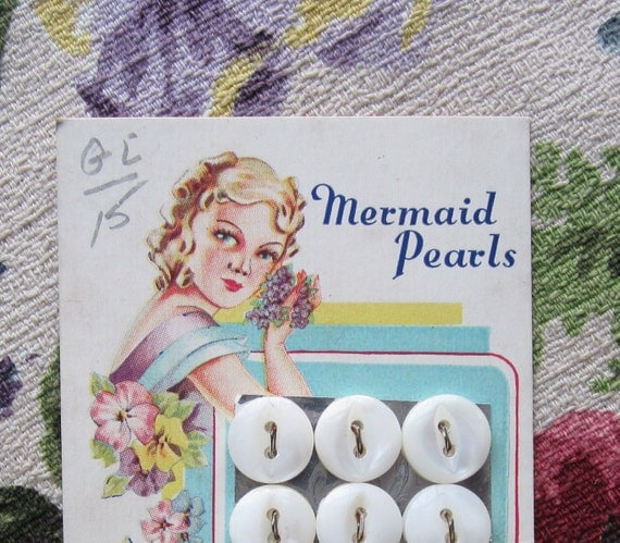 Mermaid Pearls Buttons on a Card Mother of Pearl